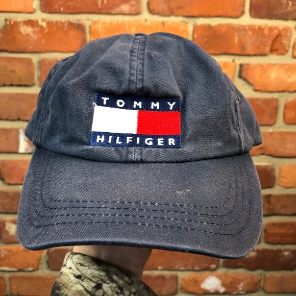 ae5b8f9d Tommy Hilfiger Accessories | Vintage Denim Buckle Strapback Hat ...